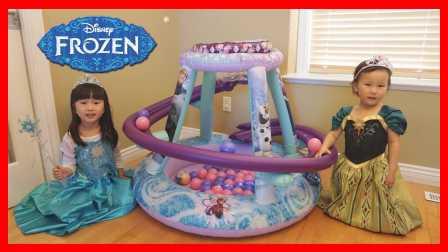 冰雪奇緣城堡波波球滑道玩具迪士尼艾莎公主與安娜公主親子游戲