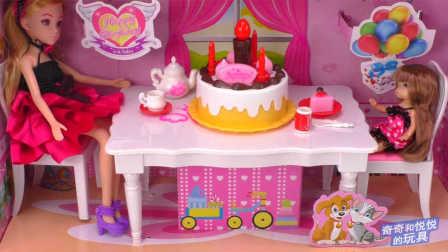 奇奇和悦悦的玩具 2016 芭比娃娃会唱歌的生日蛋糕能吹灭的蜡烛