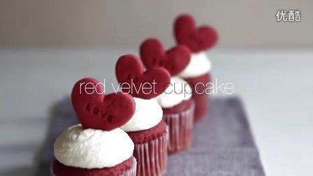 [Jennysta小吃货] 红丝绒杯子蛋糕 Red velvet Cupcake