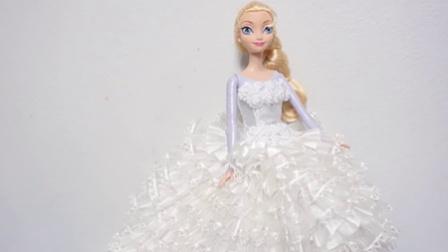 迪士尼公主炫酷时尚婚纱设计T台走秀 艾尔莎公主安娜公主的婚纱礼服
