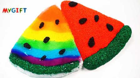 MYGIFT-亲子手工系列教程-手工制作雪花粘土 可口的彩虹色西瓜