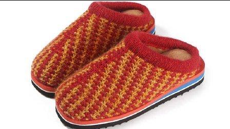 第十三集 双色凤尾拖鞋编织教学视频手工毛线拖鞋编织视频钩织拖鞋方法