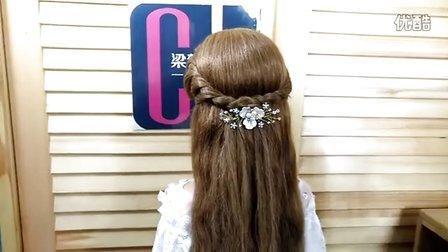 两股扭绳休闲造型~半头编发新娘造型~也可做伴娘或姐妹团发型。(梁楚梵老师语音讲解编发视频教程)
