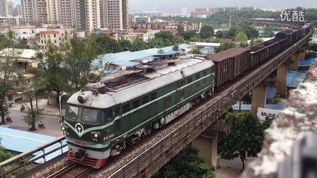 (三茂线火车视频)DF4B3855牵引混编货列通过肇庆西江大桥