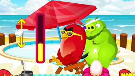 愤怒的小鸟打倒一头猪,来看看大红鸟如何强逼绿猪头的吧?