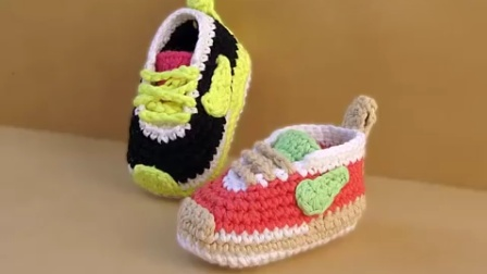 1607 【上集】耐克钩针宝宝鞋编织视频教程-甜甜快乐编织