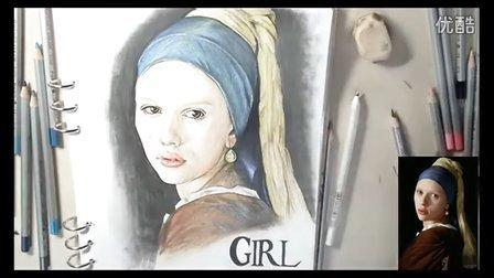手绘 彩铅《戴珍珠耳环的少女》