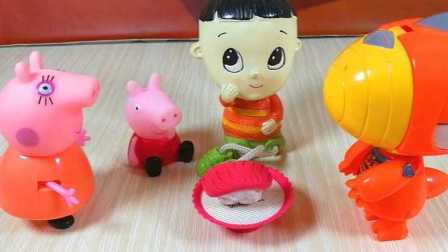 木东说 2016 小猪佩奇妈妈猪给斗龙战士大头儿子做金枪鱼寿司 妈妈猪给斗龙战士做寿司