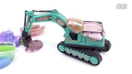 挖土机玩具视频 挖掘机表演大全 彩泥装车