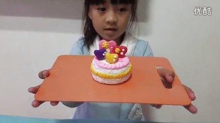 亲子游戏 韩国超轻粘土做美味生日蛋糕