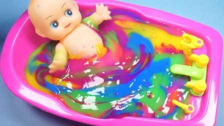超人气七彩冰冻水晶粘土玩具和芭比娃娃洗澡过家家