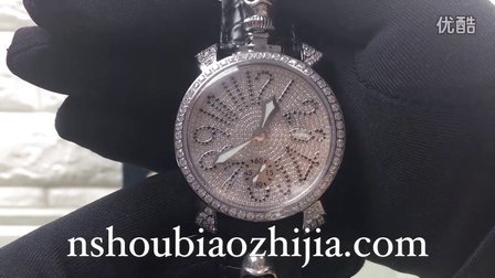 手表之家 GaGa Milano嘎嘎意大利时尚品牌 奢华满钻男女机械表 骷髅头克罗心鳄鱼皮带