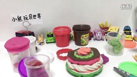★橡皮泥手工制作粉红小猪妹和波鲁鲁的生日大蛋糕制作★