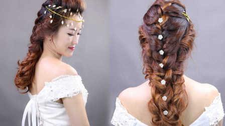 华丽的卷发拖尾新娘发型