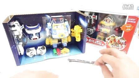 变形警车珀利 波利和罗伊装配,空间海洋包 波利变形金刚 汽车人装配 儿童玩具