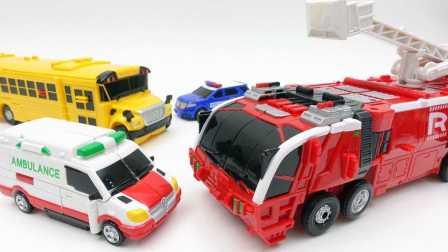 你好Carbot巨熊EX消防车巨熊,救护车变压器 汽车人装配