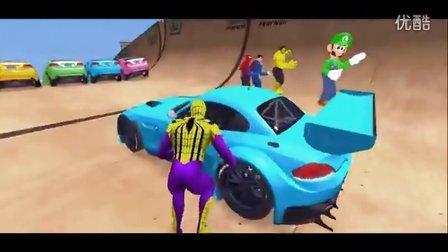 【游戏大风车】赛车总动员PK赛 蜘蛛侠来了 汽车动漫游戏