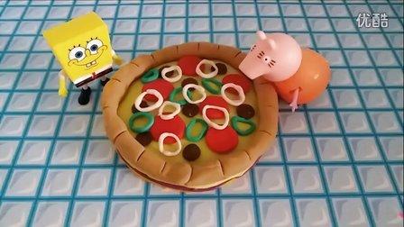 粉红猪小妹现场DIY披萨蛋糕彩泥模型 海绵宝宝