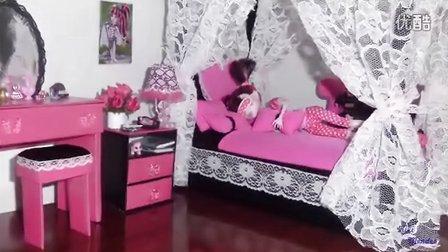 制作芭比娃娃的床并且装上公主床帘【琪琪娃娃手工艺品】