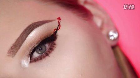 尖叫女王-红魔眼线万圣节妆容教程