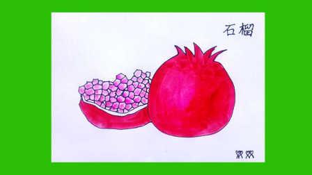 怎样画水粉画 石榴  石榴简笔画 卡通画 青石榴 石榴仔  水果的画法 怎样画水彩画 儿童