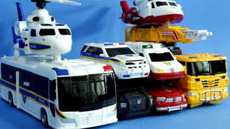 [迷你特工队之英雄的变形金刚] 十一车到了三机器人转换 超级飞侠 变形警车