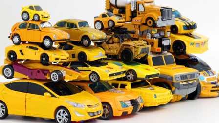 20黄色和蓝色变形金刚  机甲兽神爆裂飞车手机游戏 3D爆裂飞车疾速强袭狙击超激走系列噬魂战虎等变形玩具车展示