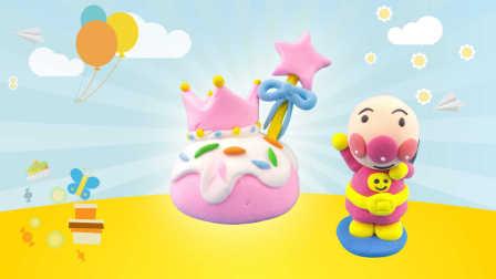 面包超人DIY皇冠蝴蝶结蛋糕 超轻粘土手工制作仿真食玩玩具游戏教程