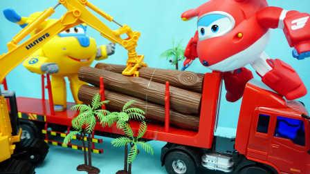 超级飞侠 乐迪与酷飞 迪士尼 玩具 木材运输车 变形机器人