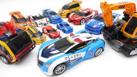 汽车人机械战警 速龙警车转化玩具龙卷风 我的世界是新的魔术玩具。一系列新变压器2016 [迷你特工队之英雄的变形金刚]