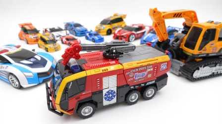 变形警车 速龙消防车转化汽车玩具火神 新系列2016年。汽车人总动员 我的世界汽车人玩具 新玩具的魔力 [迷你特工队之英雄的变形金刚]