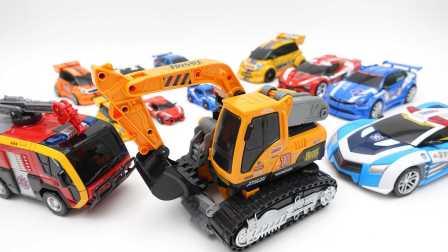 机器人挖掘机 变形金刚汽车人 汽车人幻影忍者 速龙挖掘机转化汽车玩具洛基 儿童玩具 我的世界玩具。新系列2016年 [迷你特工队之英雄的变形金刚]