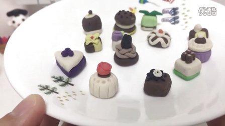 玩具视频 橡皮泥手工制作 巧克力蛋糕 白色奶酪蛋糕. 亲子游戏