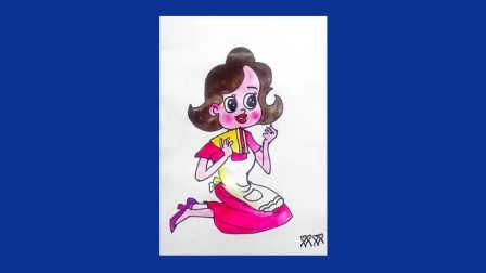 怎样画水粉画之画动画 围裙妈妈吃蛋糕 大头儿子小头爸爸 围裙妈妈卡通画  围裙妈妈简