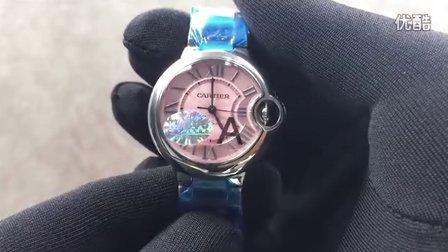 手表之家 CARTIER卡地亚33MM蓝气球系列W6920100 钢带机械粉面女士手表 V6厂