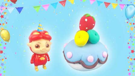 超美味草莓酸奶蛋糕食玩教程 吃货猪猪侠创意手工DIY制作美食玩具游戏