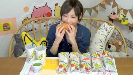 【木下大胃王】蔬菜不要钱一样的subway汉堡5个加2大可乐和七菜汤 @柚子木字幕组