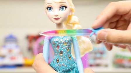 冰雪奇缘 艾莎女王 神奇水晶变色娃娃 日本版 试玩