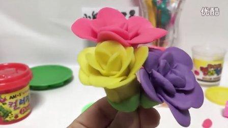 玩具视频 橡皮泥手工制作五彩玫瑰花  亲子游戏