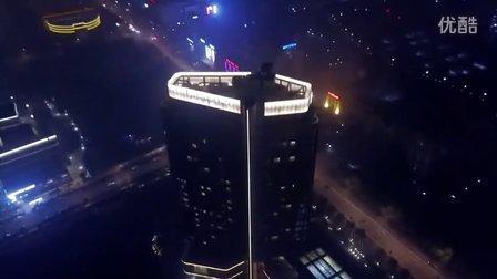 夜晚航拍海宁朗豪酒店