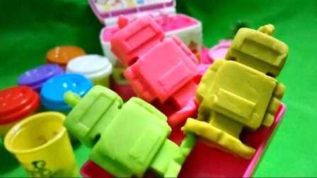 制作培乐多橡皮泥彩泥机器人玩具 小猪佩奇超级飞侠猪猪侠米奇妙妙屋过家家玩具视频 儿童手工食玩制作