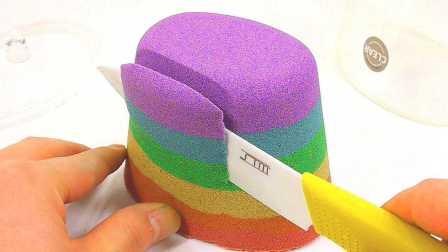 太空沙DIY五彩夹层面包 儿童玩具缝纫机制作神奇小包包水舞珠珠试玩#PomPom玩具#