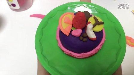 玩具视频 橡皮泥手工制作水果蛋糕 亲子游戏