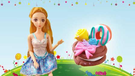 芭比娃娃马卡龙甜甜圈奶油蛋糕 美食达人手工DIY制作食玩玩具游戏教程