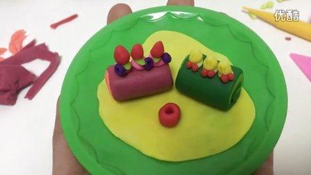 玩具视频 橡皮泥手工制作抹茶蛋糕卷 草莓蛋糕卷