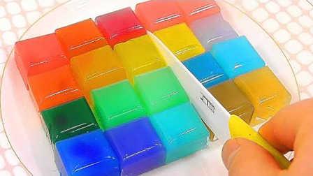 3分钟自制彩虹布丁啫喱 培乐多手工DIY七彩果冻儿童玩具试玩#PomPom玩具#