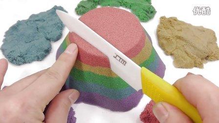 如何做 动力砂色蛋糕 学习数字计数惊喜玩具 【 俊和他的玩具们 】