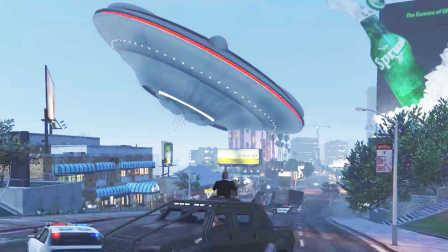GTA5 街头发现UFO外星人飞碟,漂浮在公路上(侠盗猎车5)