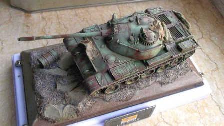 【模玩】废弃 T-55  坦克 旧化 滤镜 1:72 模型评测 模型制作 号手 easymodel 沙盘 场景 t54 t55 t-54