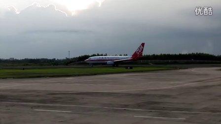 黄昏ZGZJ湛江机场中国联航737-700起飞